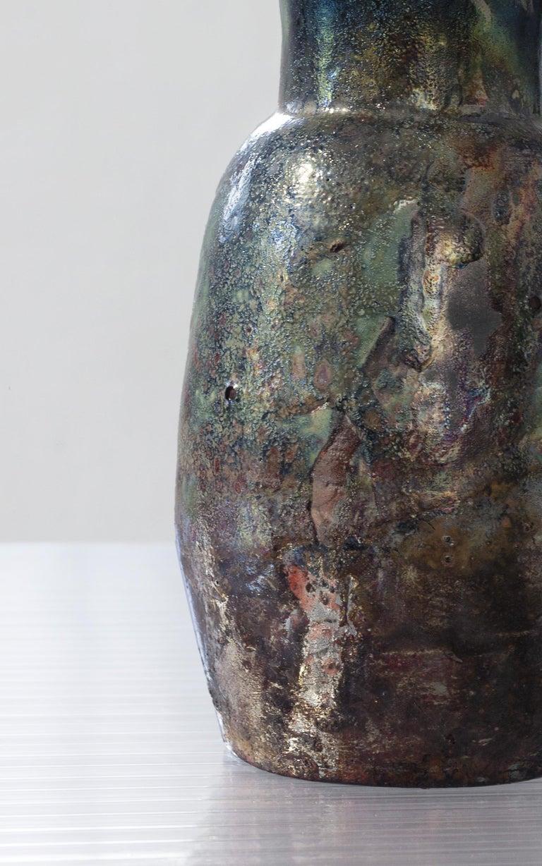 Contemporary Raku Ceramic Vase For Sale 2