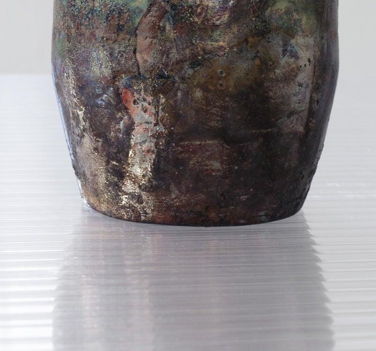 Contemporary Raku Ceramic Vase For Sale 4
