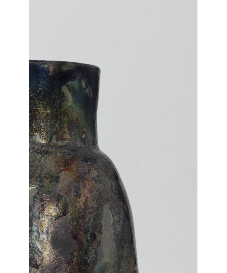 Contemporary Raku Ceramic Vase For Sale 5
