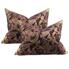 Outstanding Pair of Japanese Art Deco Pillows