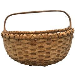 19th Century American Split Oak Gathering Basket