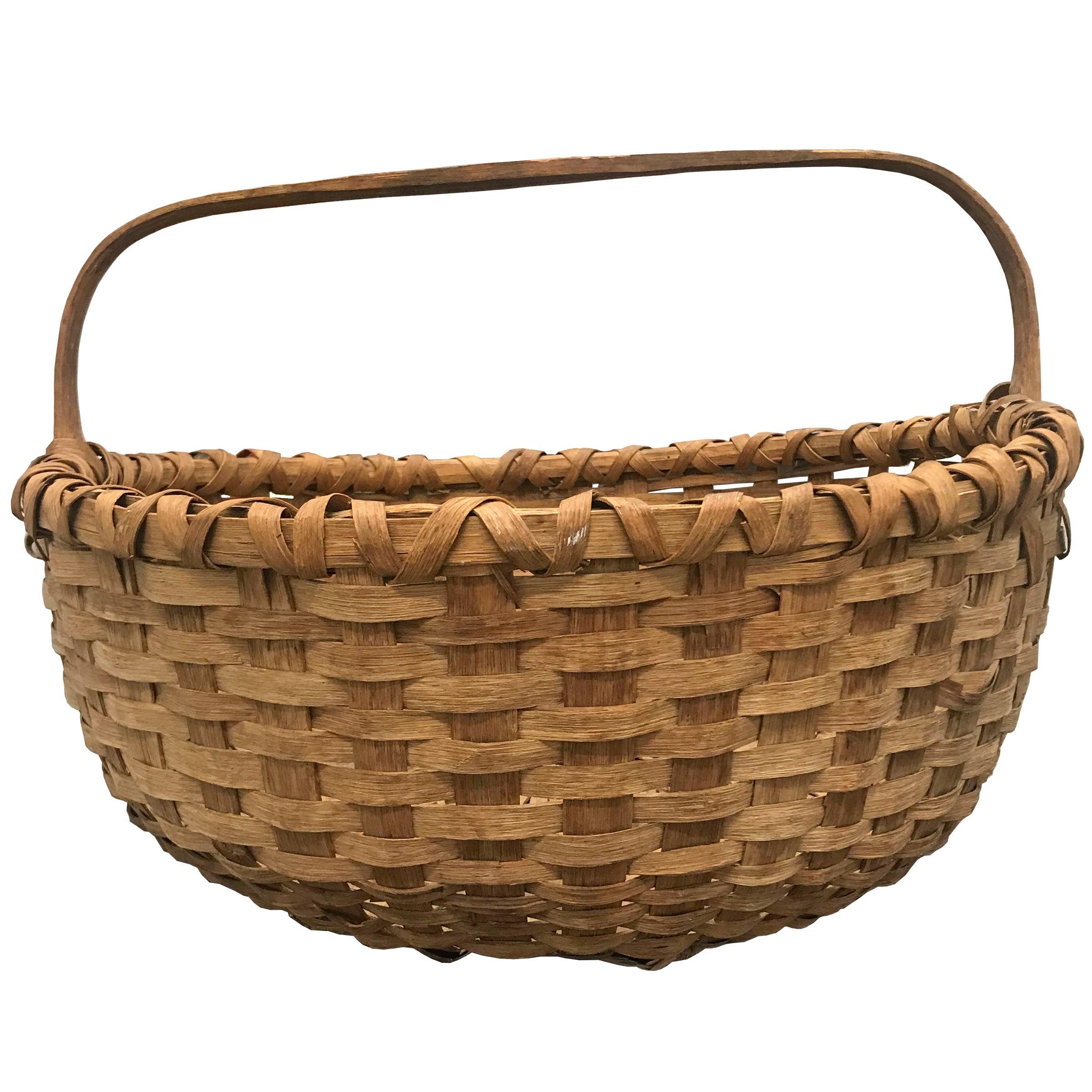 19th Century American Splint Oak Gathering Basket