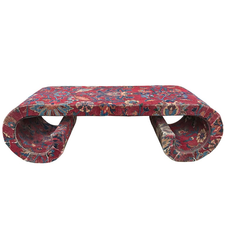 Mid-20th Century Low Table Covered in a 19th Century Rug