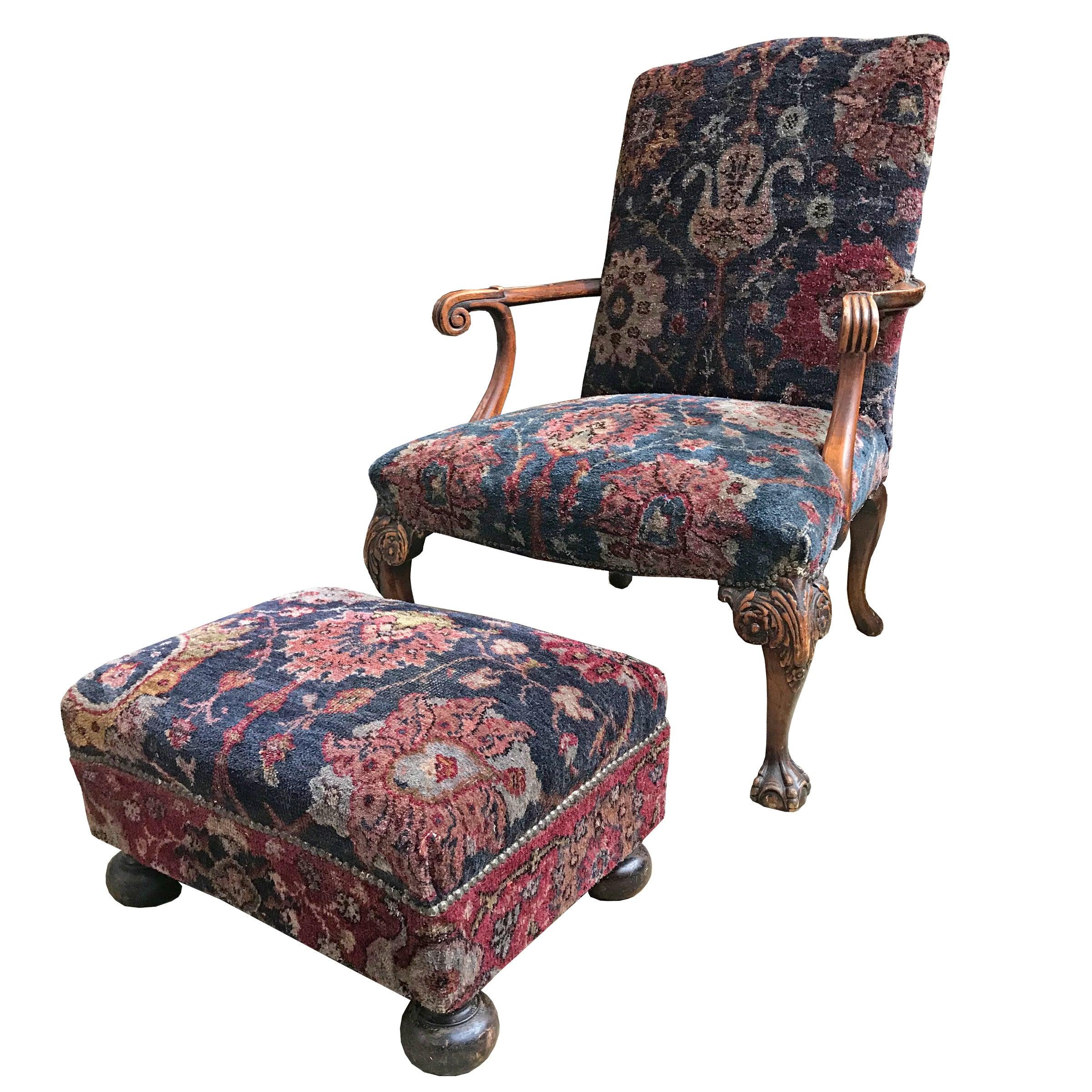 Georgian Armchair with Footrest
