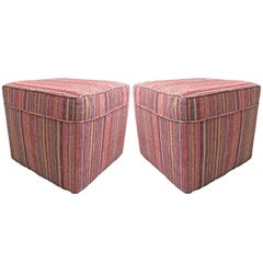 Pair of Vintage Kilim Upholstered Ottomans