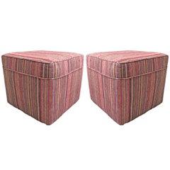Pair of Vintage Kilim Upholstered Ottomans
