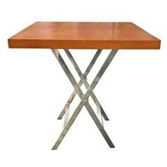Orange Shagreen Side Table