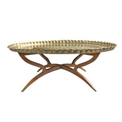 Mid-20th Century Moroccan Low Table with Brass Tray