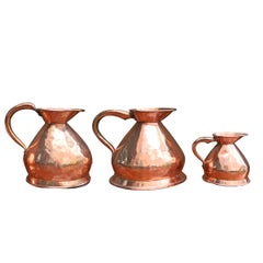 Set of Three English Victorian Period Copper Wine Pitchers