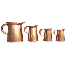 Set of Four English Victorian Period Copper Pitchers