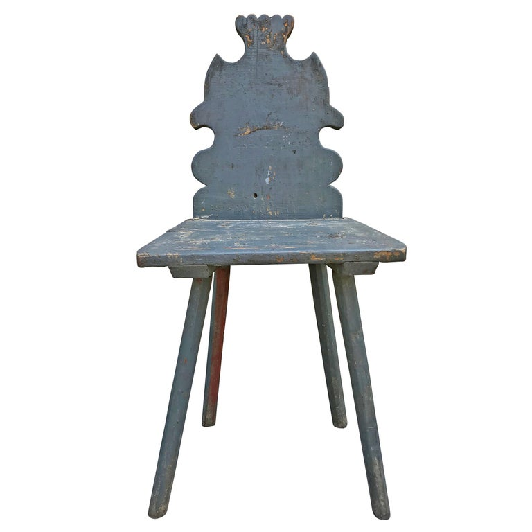 19th Century Tyrolean Painted Side Chair For Sale