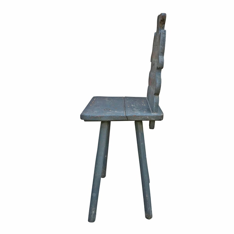 Folk Art 19th Century Tyrolean Painted Side Chair For Sale