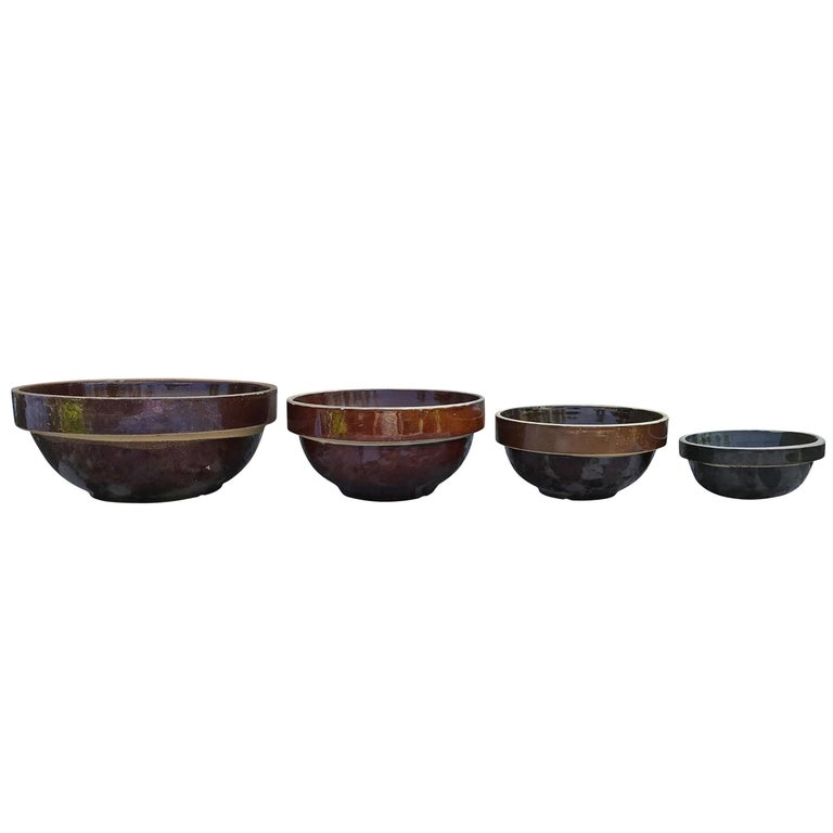 Set of Four Early 20th Century Stoneware Mixing Bowls