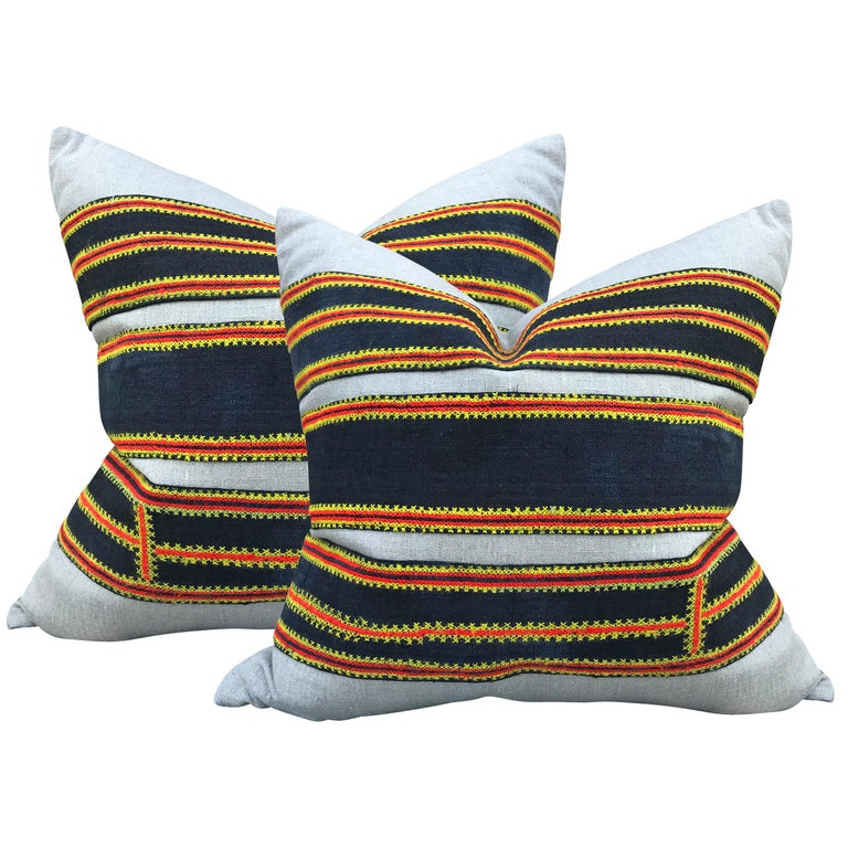 Pair of Vintage Hmong Embroidery Pillows