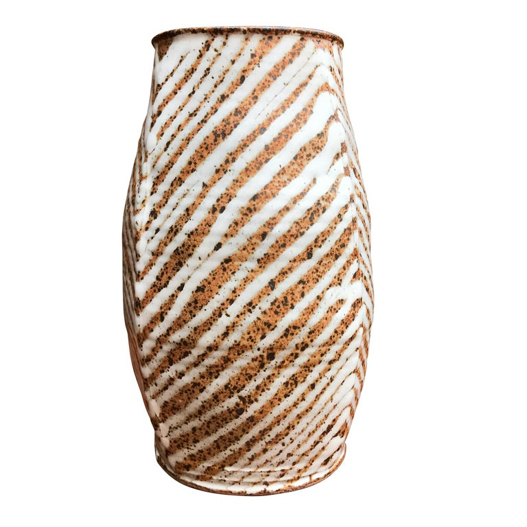 "Midcentury Studio Pottery ""Zebra"" Vase For Sale"