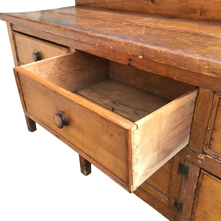 Pine 19th Century English Baker's Cabinet For Sale