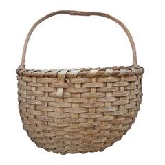 Early 20th Century Oak Splint Basket