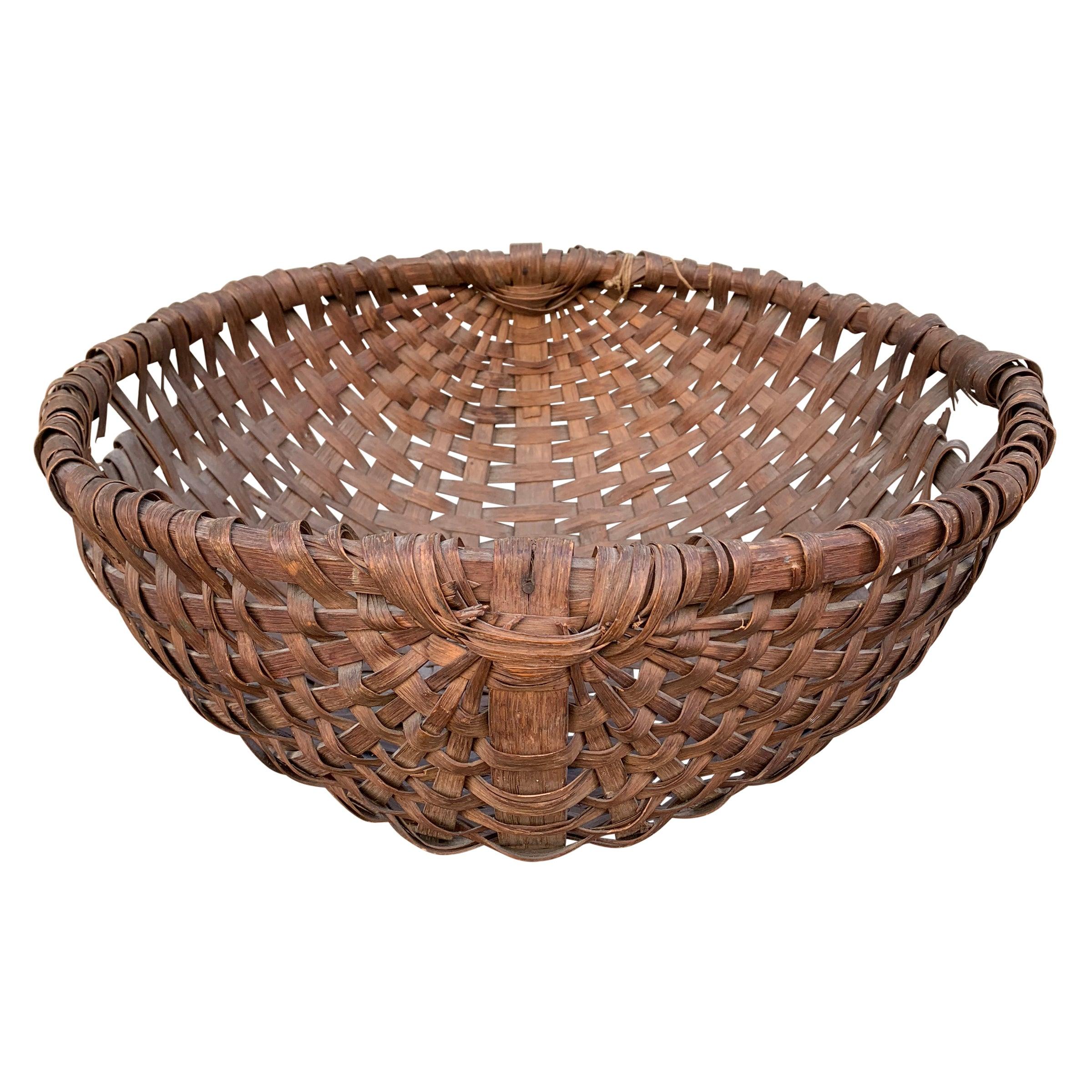 Large 19th Century American Spale Gathering Basket