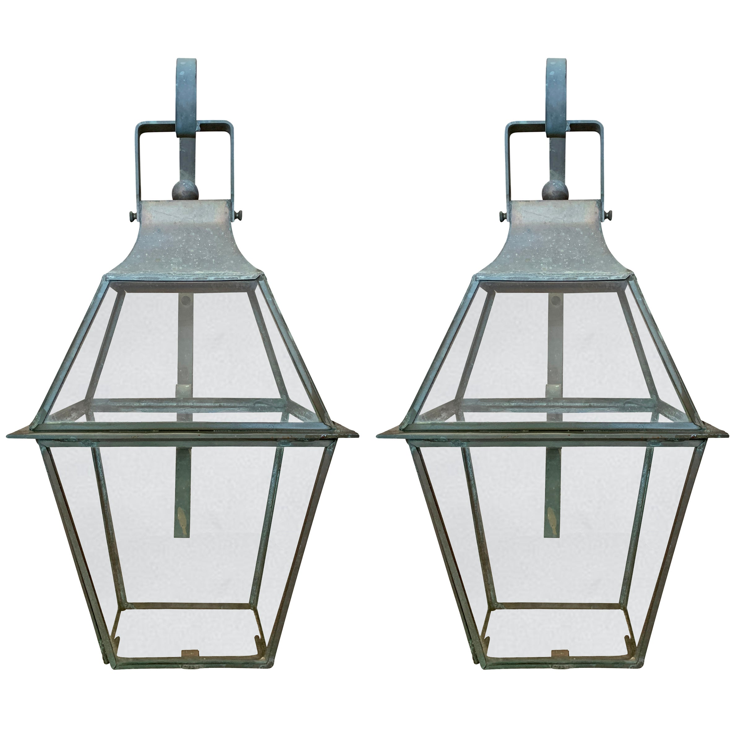 Pair of American Bronze Lantern Sconces