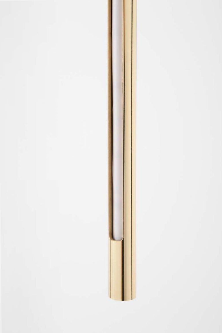 Modern Gold Contemporary Ceiling Lamp in Tubular Brass, LED Lamp Type For Sale