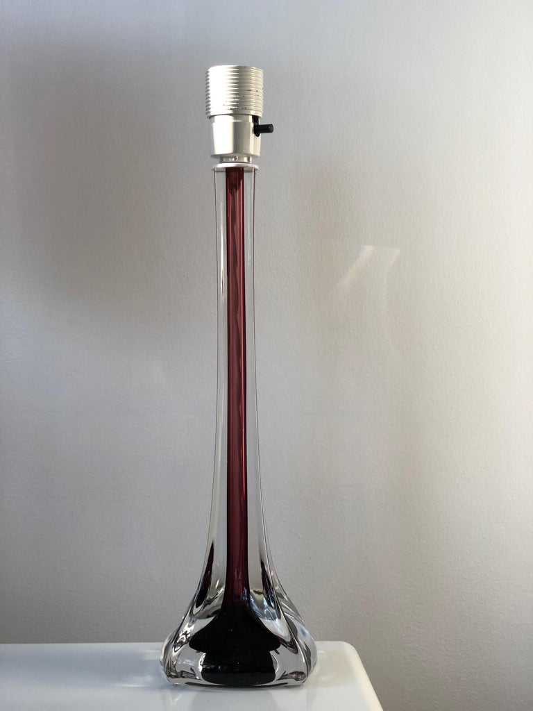 Mid-Century Modern Flygsfors Table Lamps in Burgundy by Paul Kedelv For Sale 3