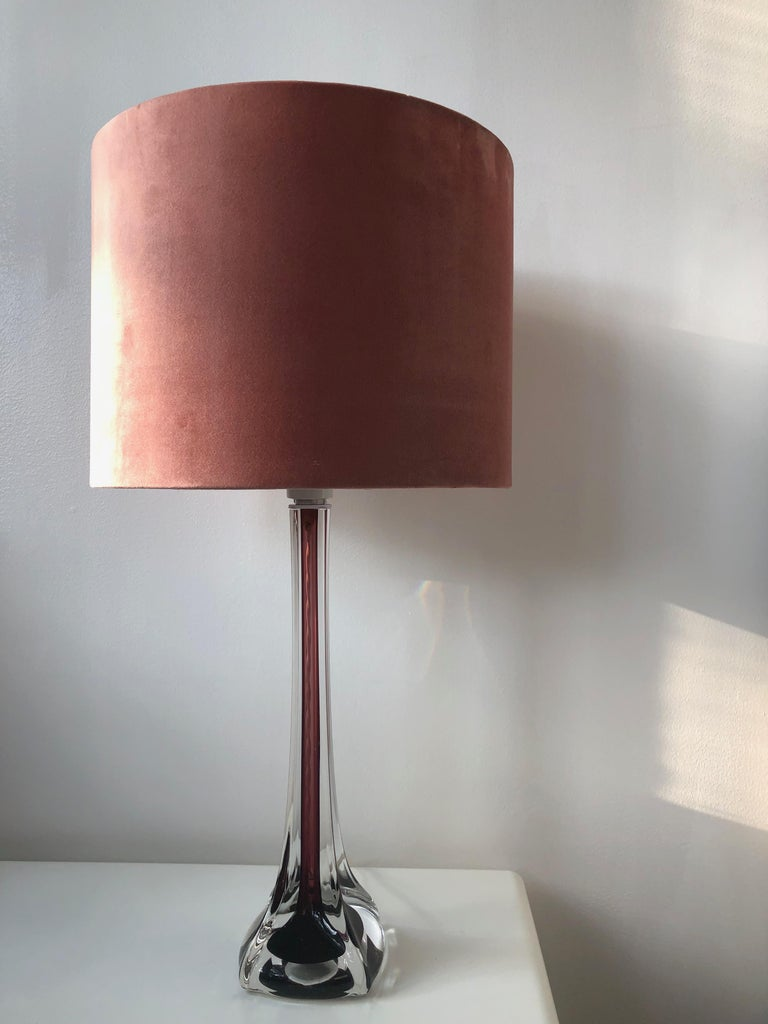 Swedish Mid-Century Modern Flygsfors Table Lamps in Burgundy by Paul Kedelv For Sale