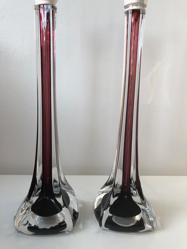 Art Glass Mid-Century Modern Flygsfors Table Lamps in Burgundy by Paul Kedelv For Sale