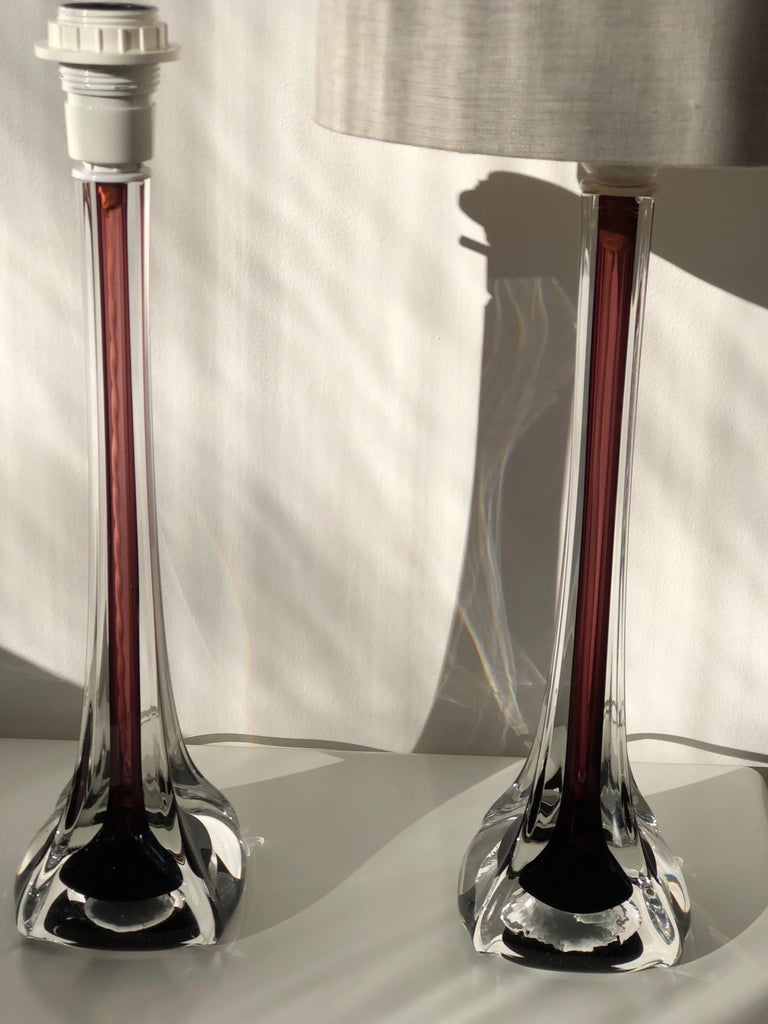 Mid-20th Century Mid-Century Modern Flygsfors Table Lamps in Burgundy by Paul Kedelv For Sale
