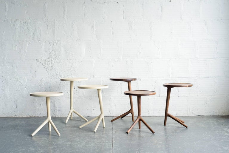 Mid-Century Modern Tripod Table in White Ash Wood, Cocktail Nesting Table by Fernweh Woodworking For Sale