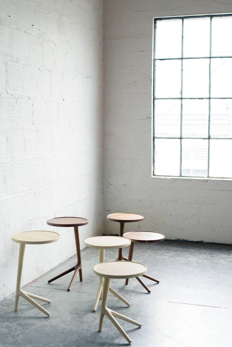 American Tripod Table in White Ash Wood, Cocktail Nesting Table by Fernweh Woodworking For Sale