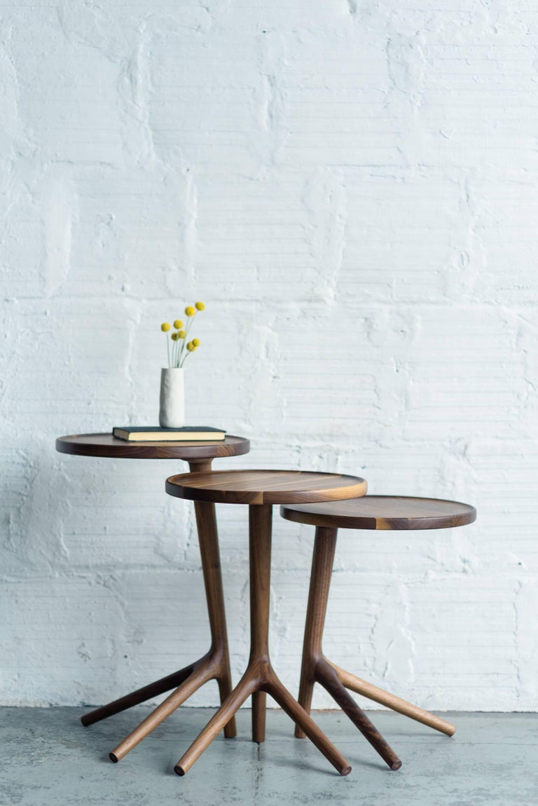Tripod Table in White Ash Wood, Cocktail Nesting Table by Fernweh Woodworking For Sale 3