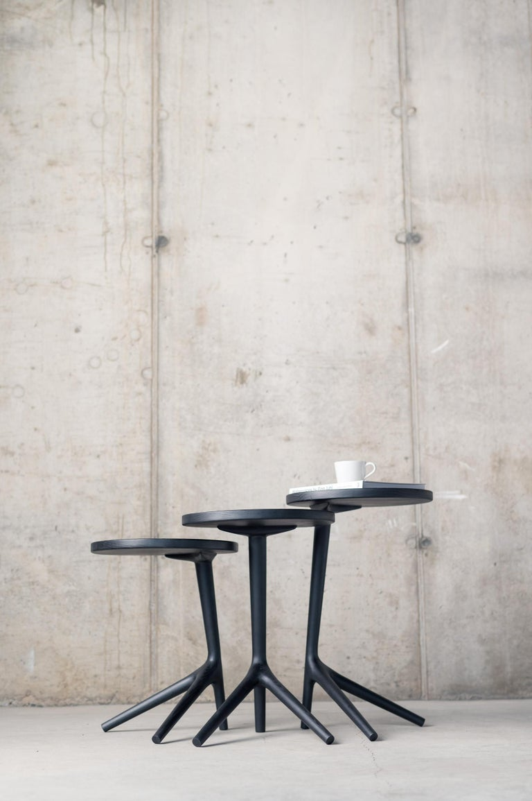 Mid-Century Modern Tripod Table in Charcoal Stained Ash Wood - Accent Nesting Table for Living Room For Sale