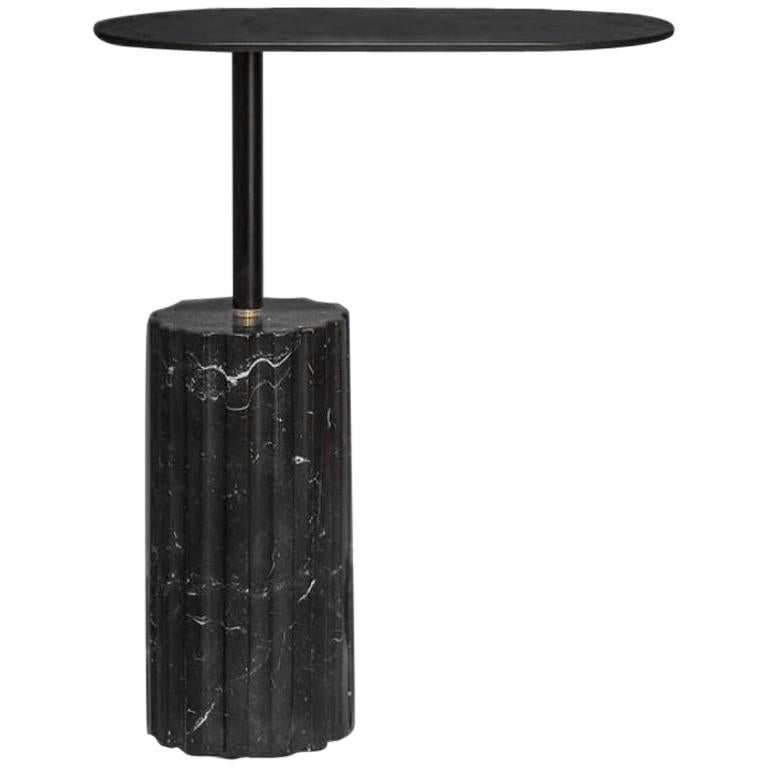 """Column Side Table"" Minimalist Side Table in Marquina Marble"