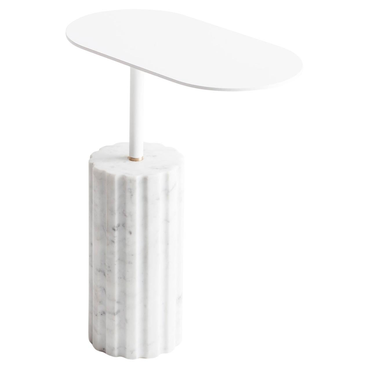 """""""Column Side Table Small"""" Minimalist Carrara Marble Side Table by Aparentment"""