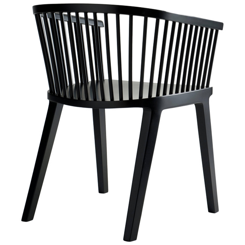Secreto Armchair, Black Lacquered Beech Wood, Contemporary Design