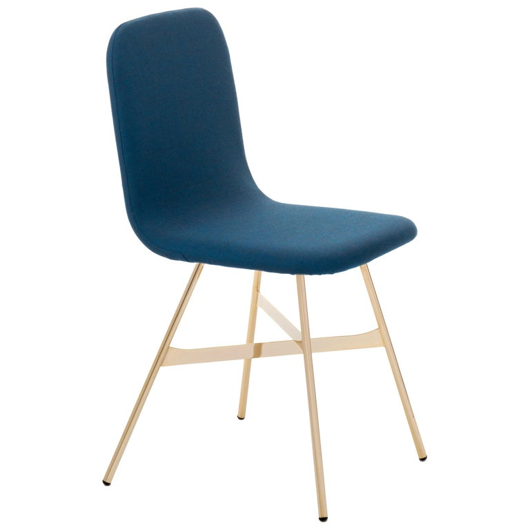 Tria Chair, Black Shell, Golden Legs, Minimalist Design Icon For Sale 8