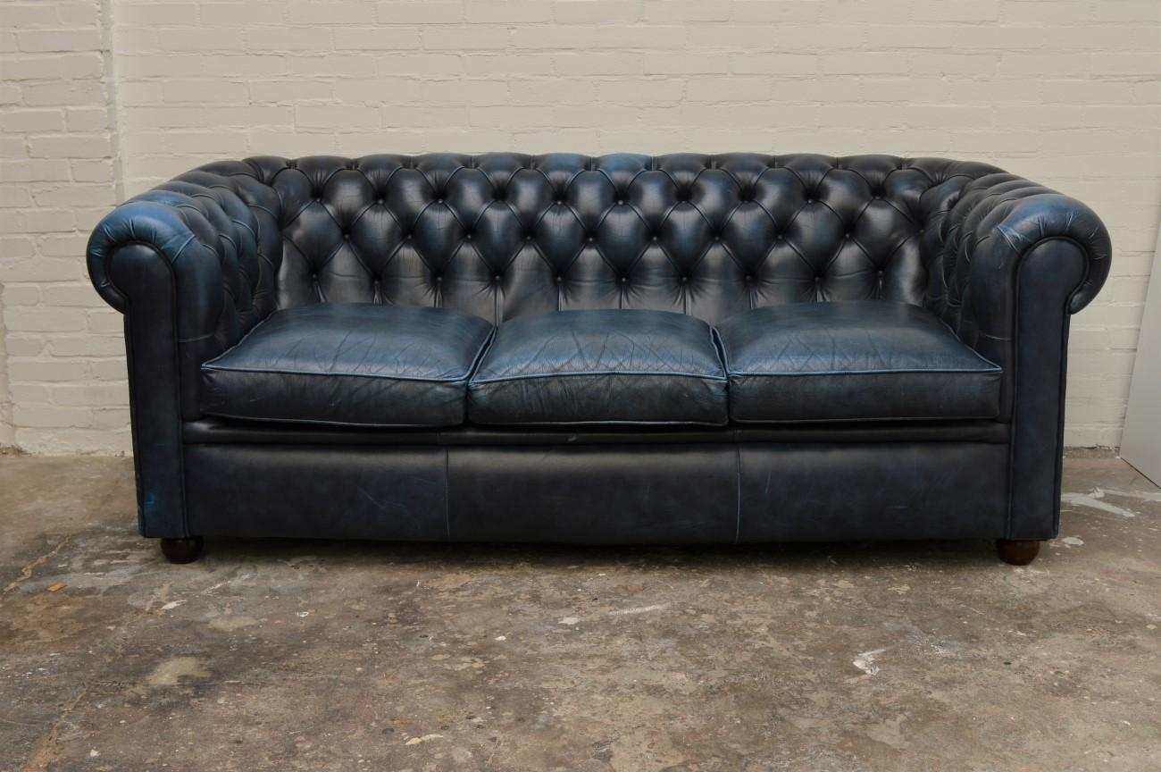 British Antique Blue Chesterfield Sofa For Sale