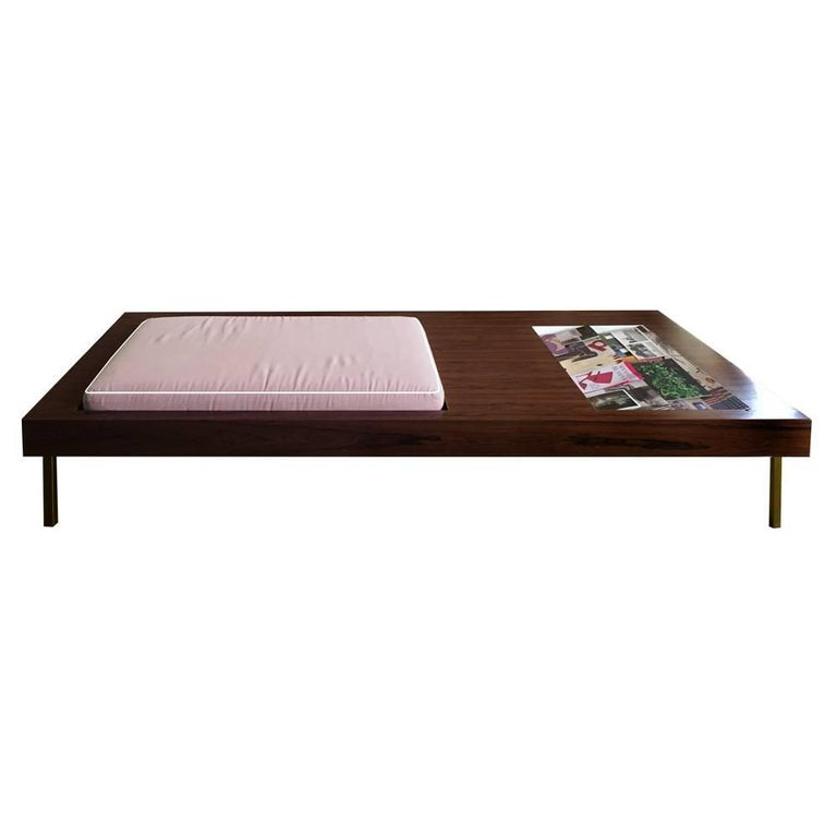 Contemporary Multifunctional Bench in Walnut with Magazine Compartment