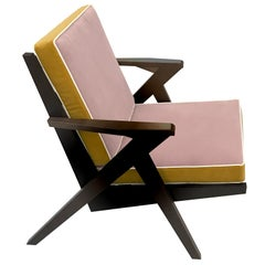 Contemporary Handcrafted Armchair in Wood and Piped Velvet Upholstery