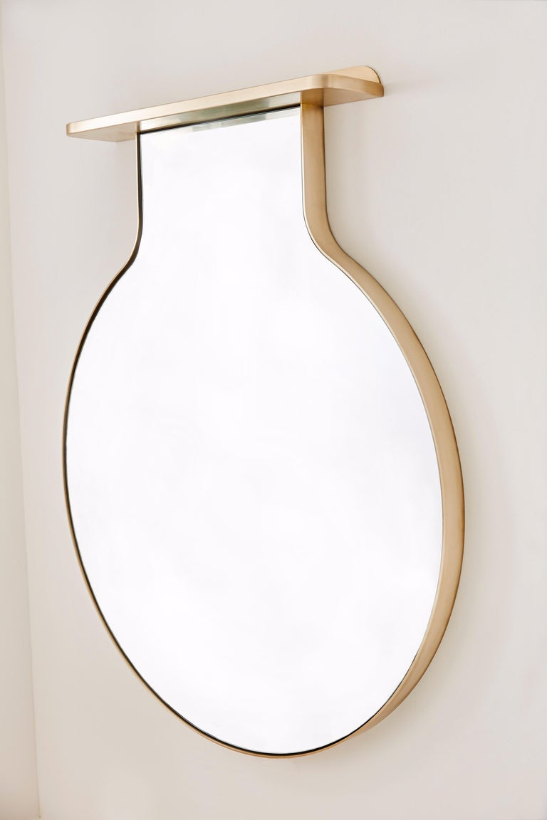 """Contemporary """"Drip Drop Mirror"""", Minimalist Brushed Bronze Wall Mirror with Shelving For Sale"""