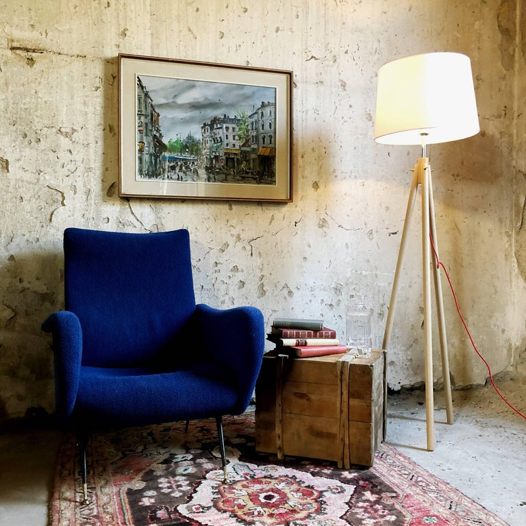 Midcentury Blue Velvet Italian Armchair in the style of Marco Zanuso, 1950s For Sale 3