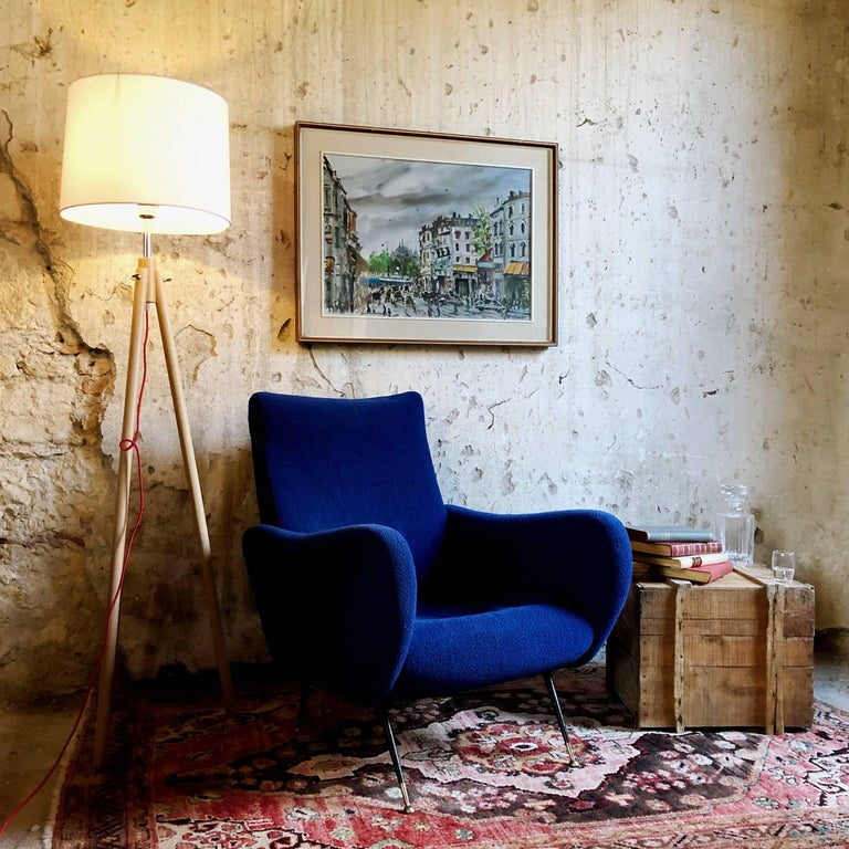 Midcentury Blue Velvet Italian Armchair in the style of Marco Zanuso, 1950s For Sale 4
