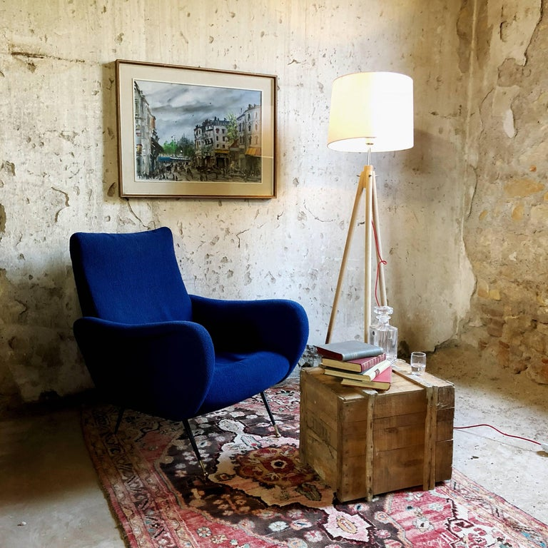 Midcentury Blue Velvet Italian Armchair in the style of Marco Zanuso, 1950s For Sale 5