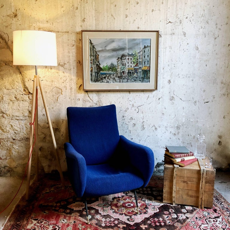 Midcentury Blue Velvet Italian Armchair in the style of Marco Zanuso, 1950s For Sale 6