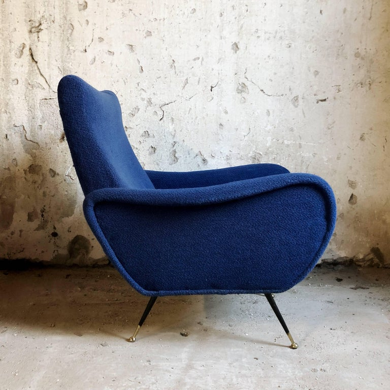 Mid-Century Modern Midcentury Blue Velvet Italian Armchair in the style of Marco Zanuso, 1950s For Sale