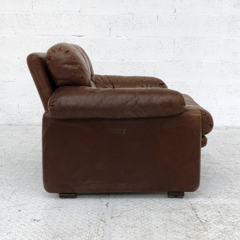 Afra & Tobia Scarpa Brown Leather Coronado Living Room Set for C&B Italia, 1969  For Sale 1