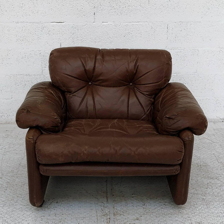 Afra & Tobia Scarpa Brown Leather Coronado Living Room Set for C&B Italia, 1969  For Sale 2