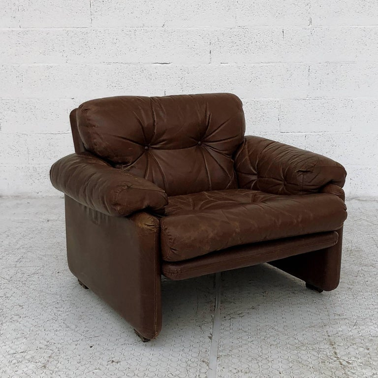 Afra & Tobia Scarpa Brown Leather Coronado Living Room Set for C&B Italia, 1969  For Sale 3