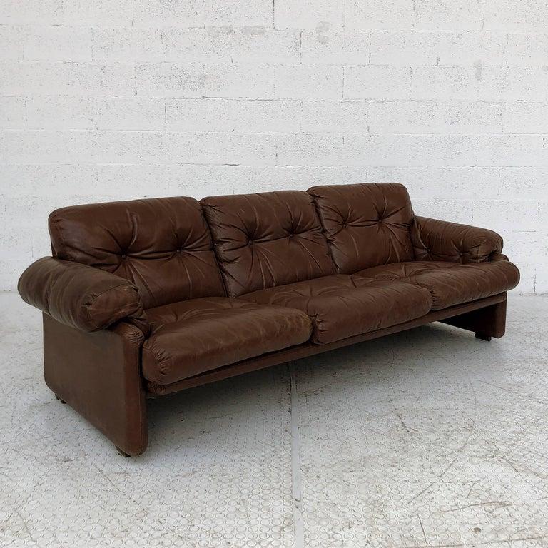 Italian Afra & Tobia Scarpa Brown Leather Coronado Living Room Set for C&B Italia, 1969  For Sale