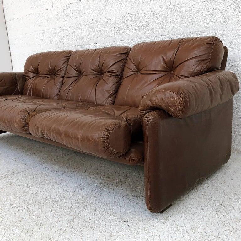 Aluminum Afra & Tobia Scarpa Brown Leather Coronado Living Room Set for C&B Italia, 1969  For Sale